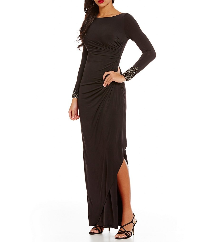 Adrianna Papell Crystal Long Sleeve Side Drape Dress