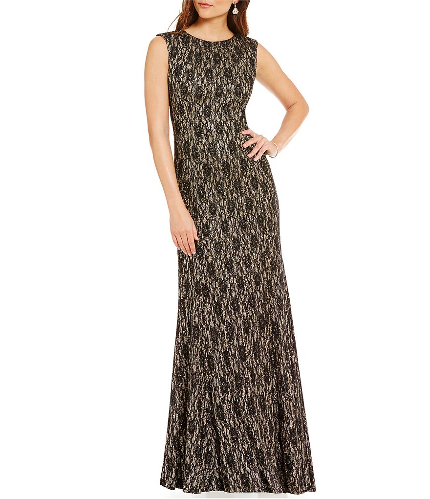 Tahari ASL Sleeveless Sparkle Bonded Lace A-line Gown