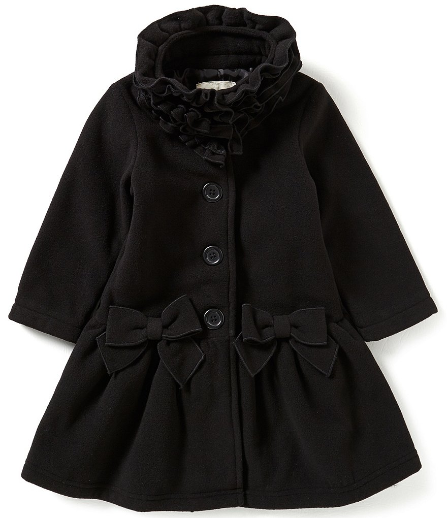 Copper Key Little Girls 2T-6X Ruffle-Collar Bow Coat