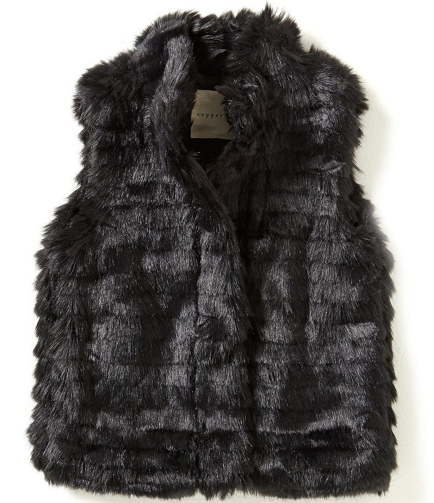 Copper Key Little Girls 2T-6X Faux-Fur Collar Vest