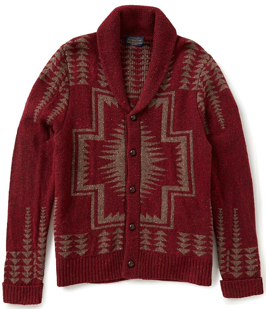 Pendleton Long-Sleeve Harding Pattern Shawl Collar Cardigan