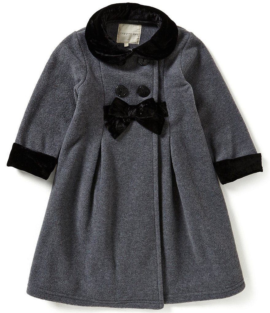 Copper Key Little Girls 2T-6X Bow-Front Double-Breasted Jacket