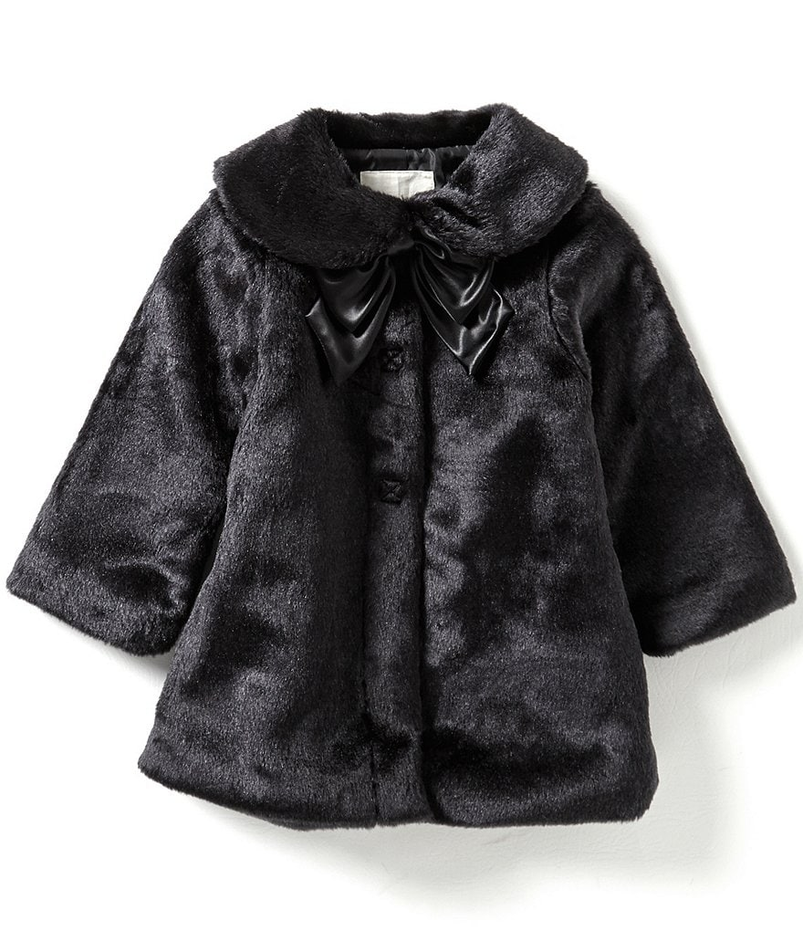 Copper Key Little Girls 2T-6X Plush Faux-Fur Bow Jacket