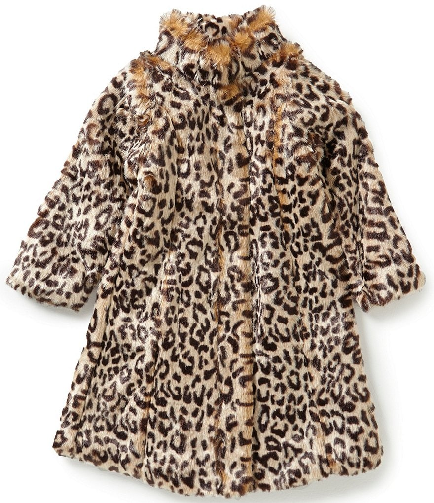 Copper Key Little Girls 2T-6X Plush Leopard Faux-Fur Jacket