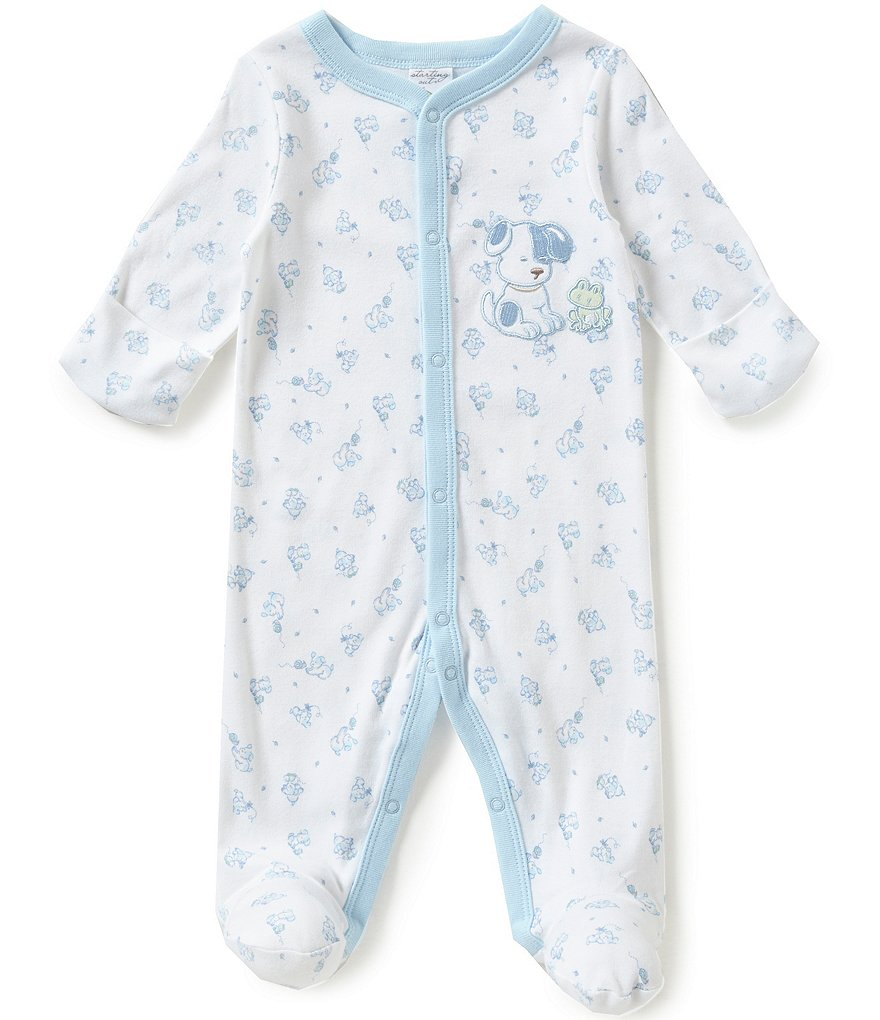 Starting Out Baby Boys Newborn-6 Months Puppy-Appliqued Footed Coverall