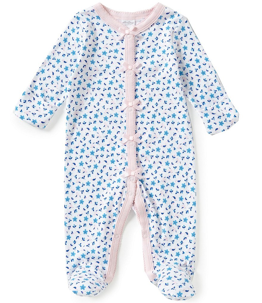 Starting Out Baby Girls Newborn-6 Months Floral Footed Coverall