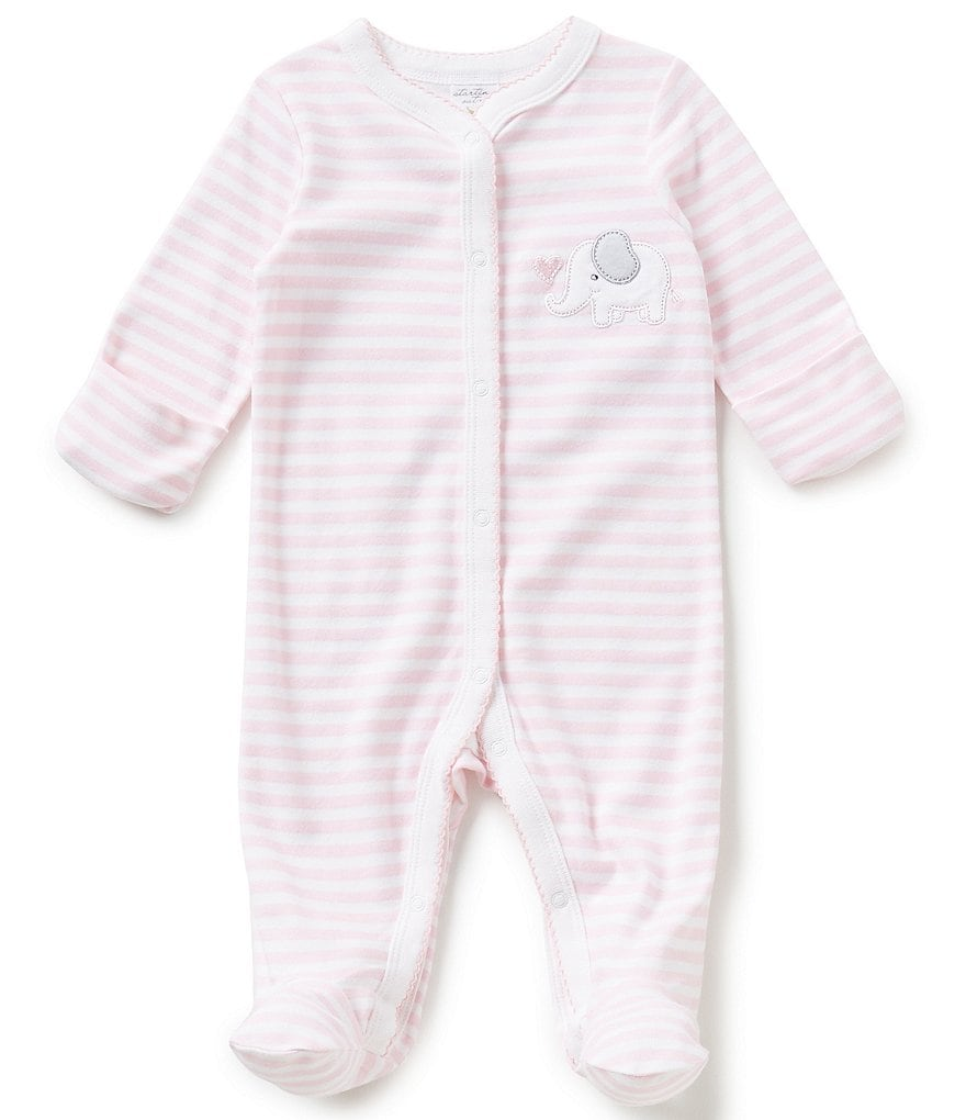 Starting Out Baby Girls Newborn-6 Months Striped Elephant-Appliqued Footed Coverall