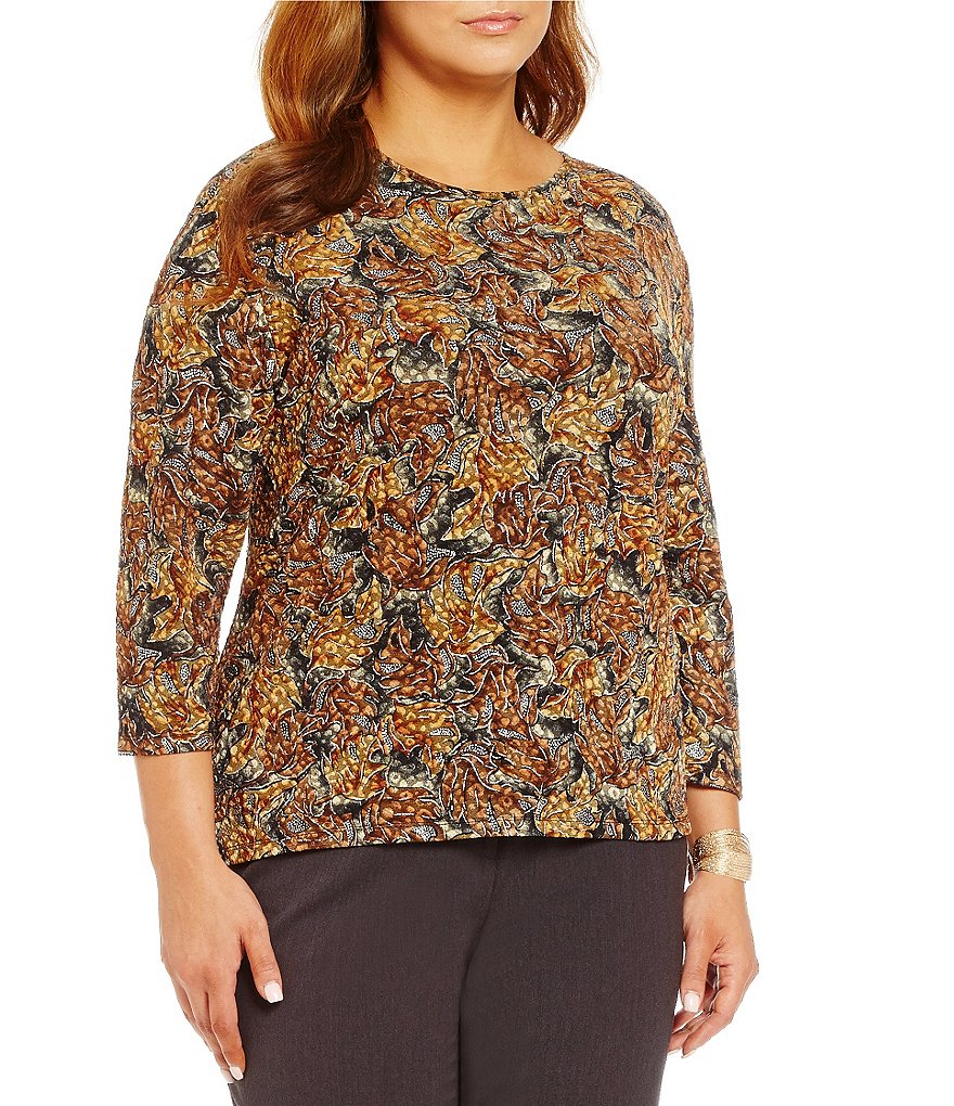 Allison Daley Plus 3/4 Sleeve Printed Knit Top