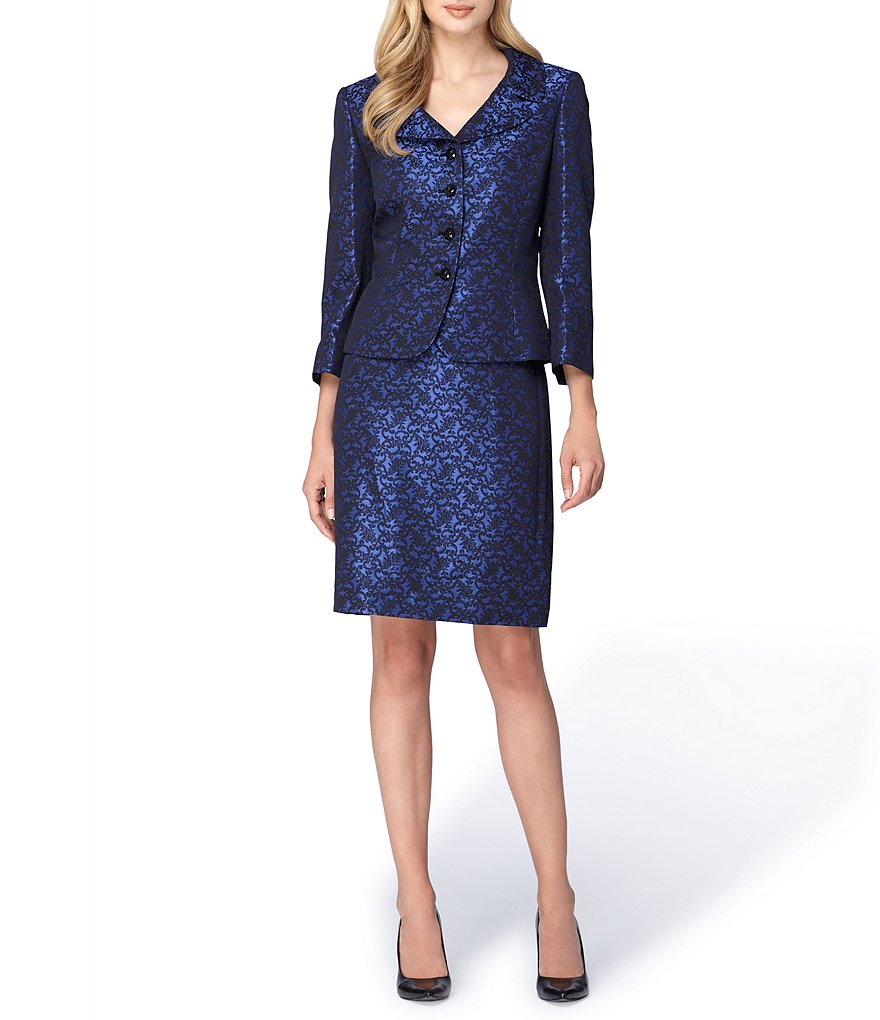 Tahari ASL Jacquard 4 Button Jacket Skirt Suit