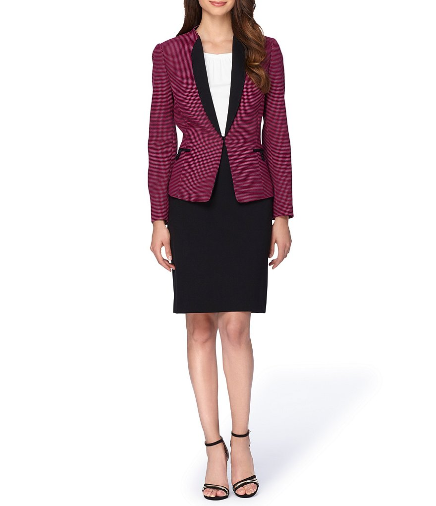 Tahari ASL Wing Collar Novelty Skirt Suit