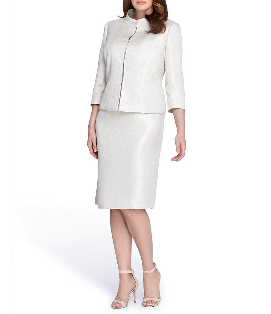 Tahari ASL Plus Jacquard Stand Collar Skirt Suit