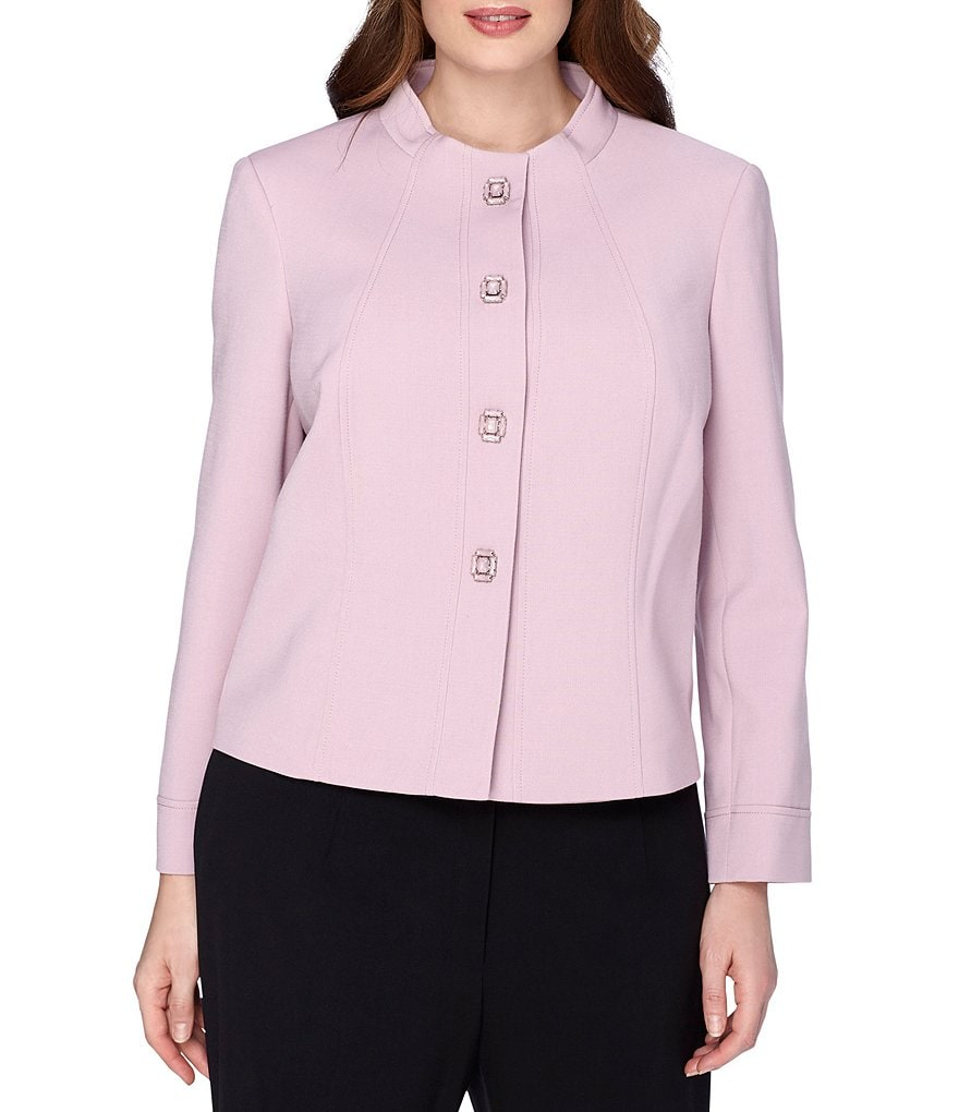Tahari ASL Plus Stand Collar Jacket