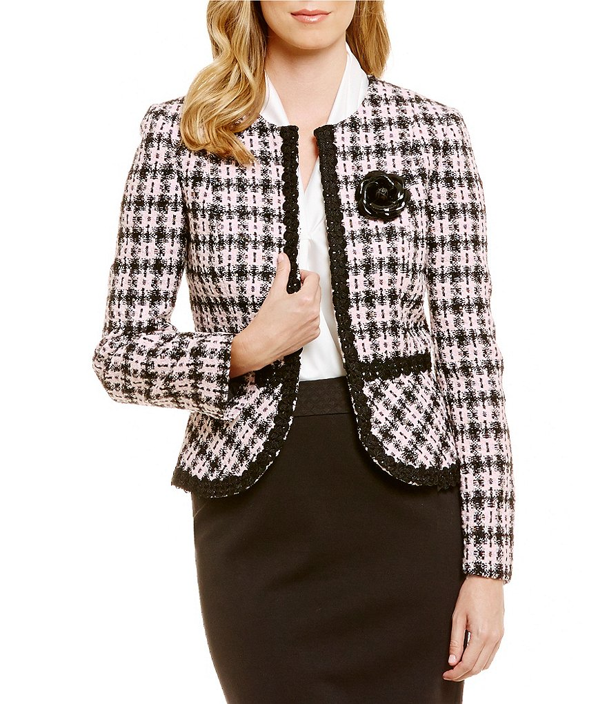 Tahari ASL Bouncle Fit-and-Flare Jacket