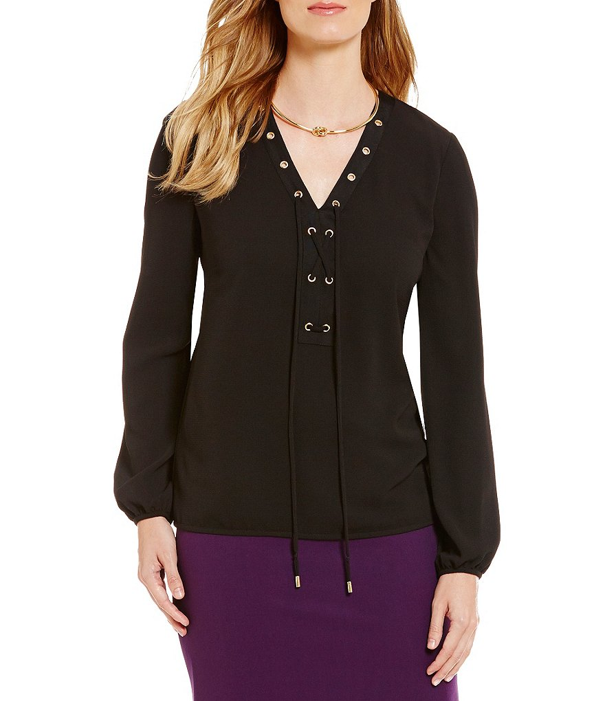 Tahari ASL Crepe Lace-Up Long Sleeve Top