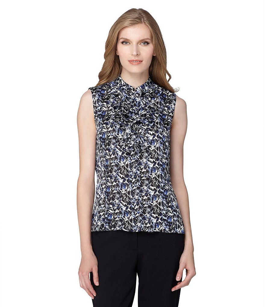 Tahari ASL Printed Button Front Top
