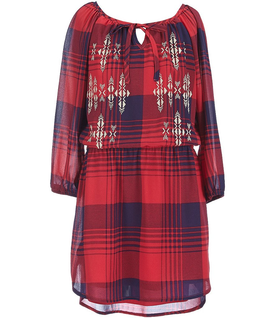 My Michelle Big Girls 7-16 High-Low Buffalo Checked Dress