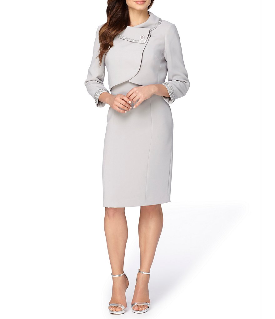 Tahari ASL Beaded Collar 2-Piece Cropped Jacket Dress