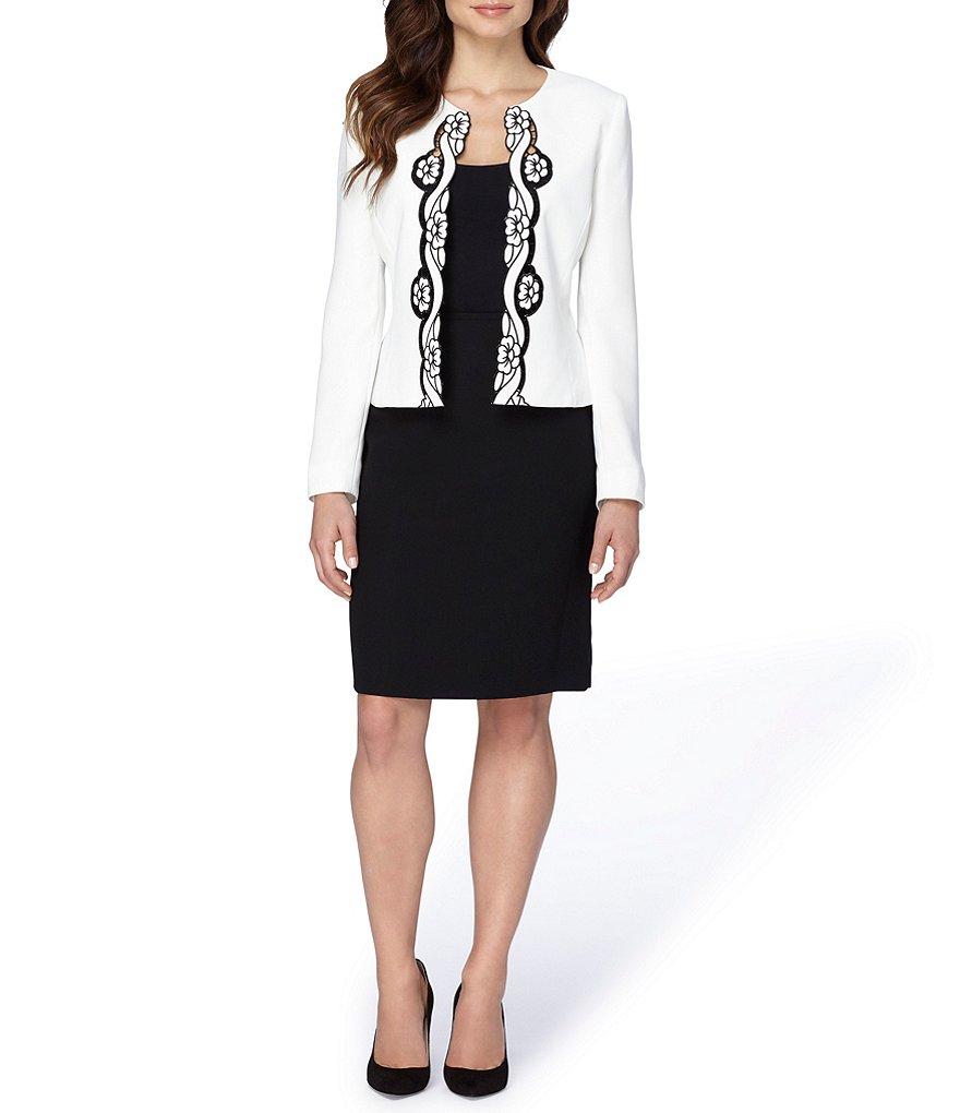 Tahari ASL Embroidered Crepe 2-Piece Skirt Suit