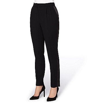 Tahari ASL Petite Tuxedo-Striped Straight-Leg Crepe Pants
