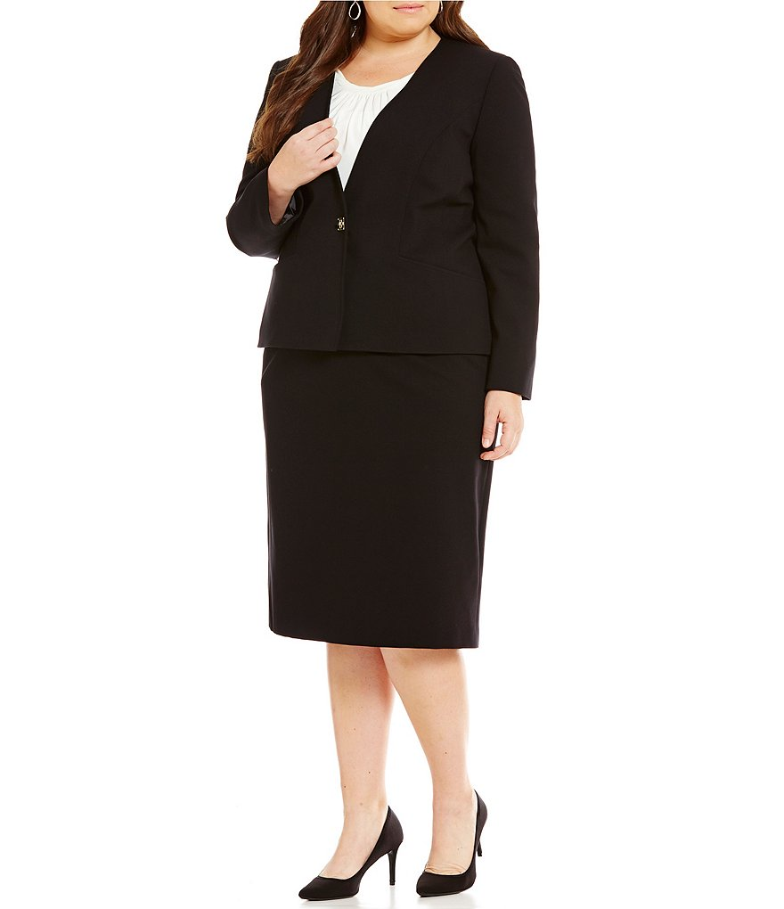 Tahari ASL Plus Turnlock-Button Ponte 2-Piece Skirt Suit