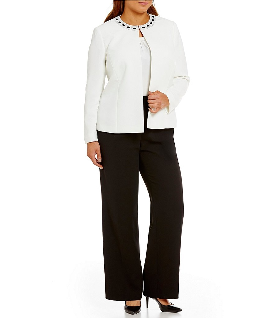 Tahari ASL Plus Bead-Trim Crepe 2-Piece Pant Suit