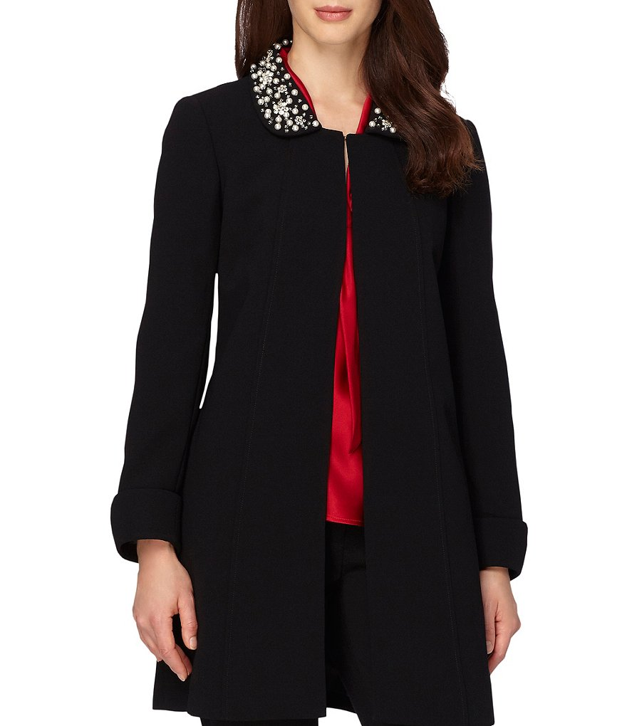 Tahari ASL Pearl Beaded Crepe Jacket