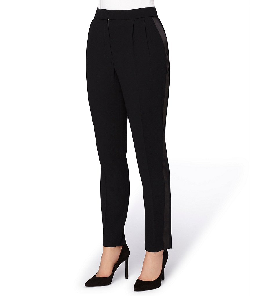 Tahari ASL Straight-Leg Tuxedo-Striped Crepe Pants