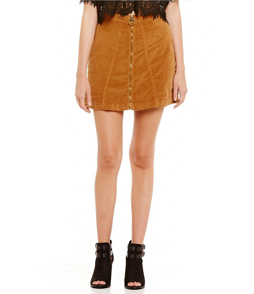 Buffalo David Bitton Cadby A-Line Front Zip Corduroy Skirt