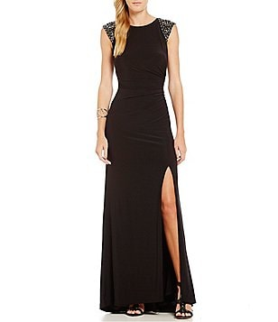 Vince Camuto Cap Sleeve Beaded Shoulder Gown