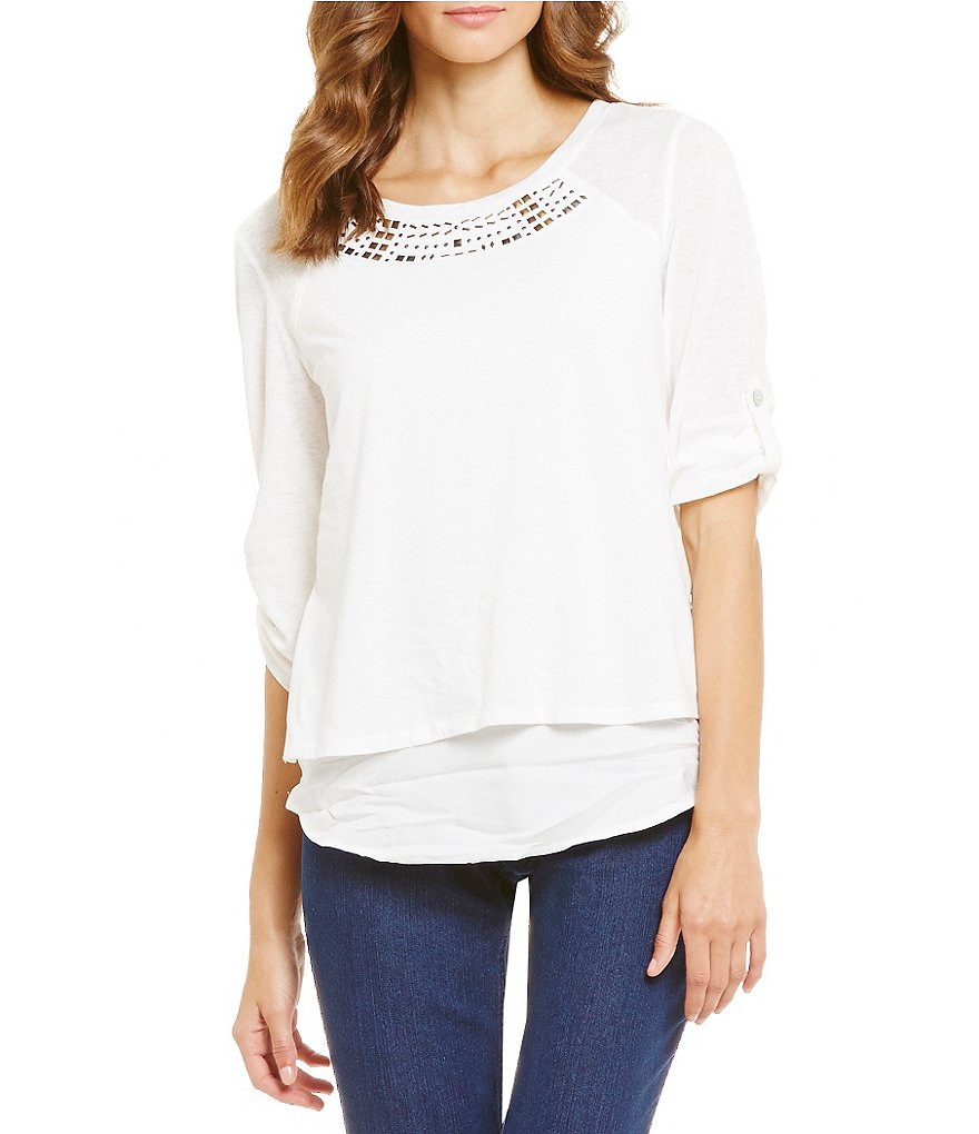 Westbound Petites Roll Tab Sleeve Embroidered Top