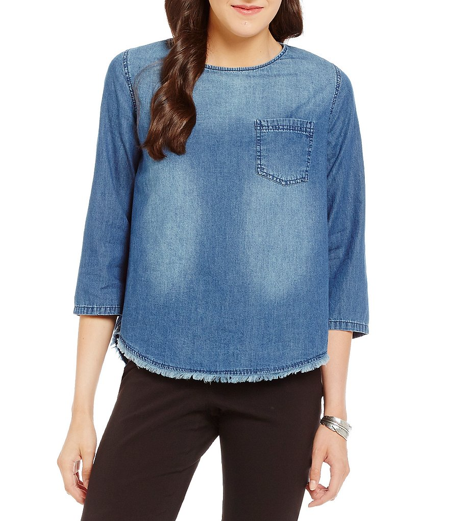 Westbound 1 Pocket Fringe Hem Denim Top