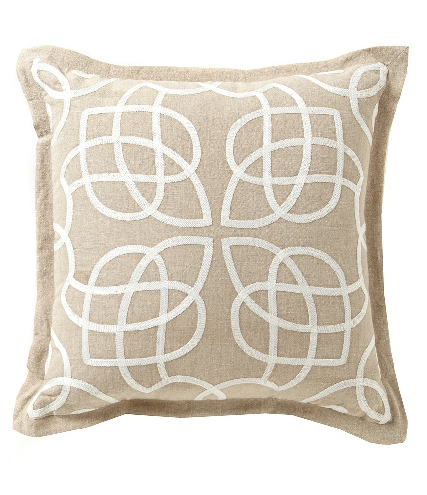 Southern Living Veranda Scroll-Embroidered Cotton & Linen Square Pillow