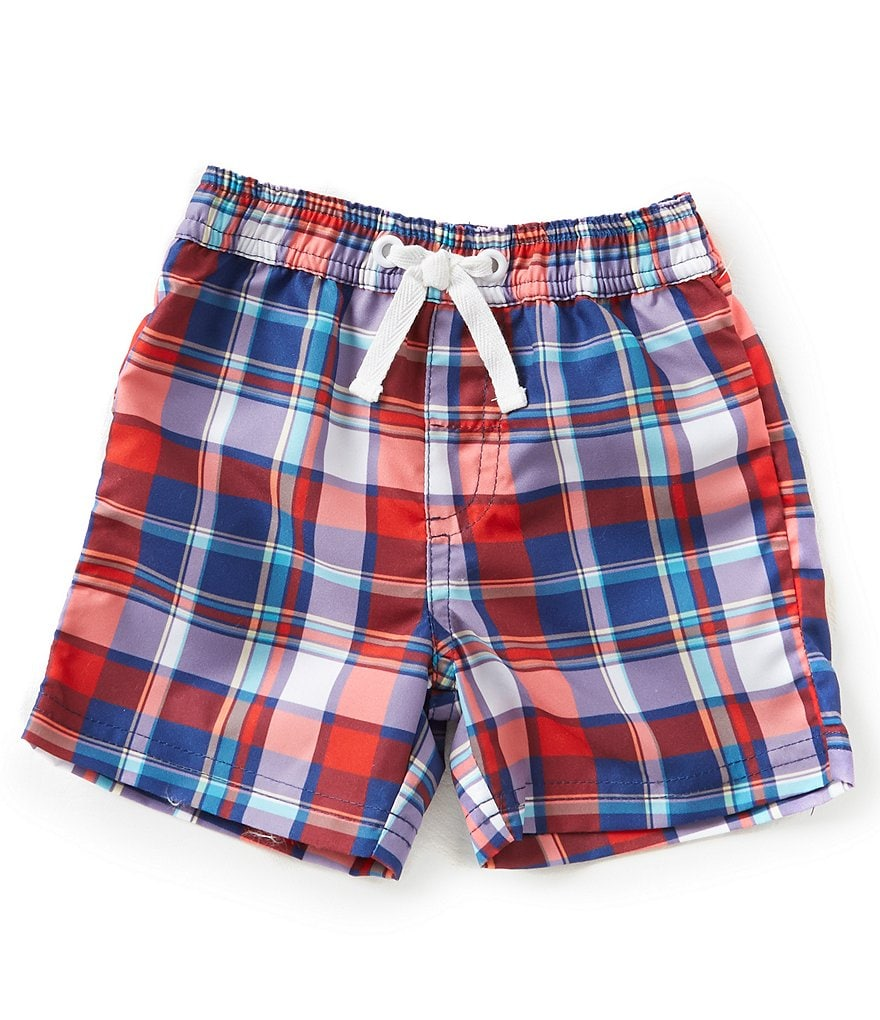Edgehill Collection Baby Boys 3-24 Months Plaid Swim Trunks