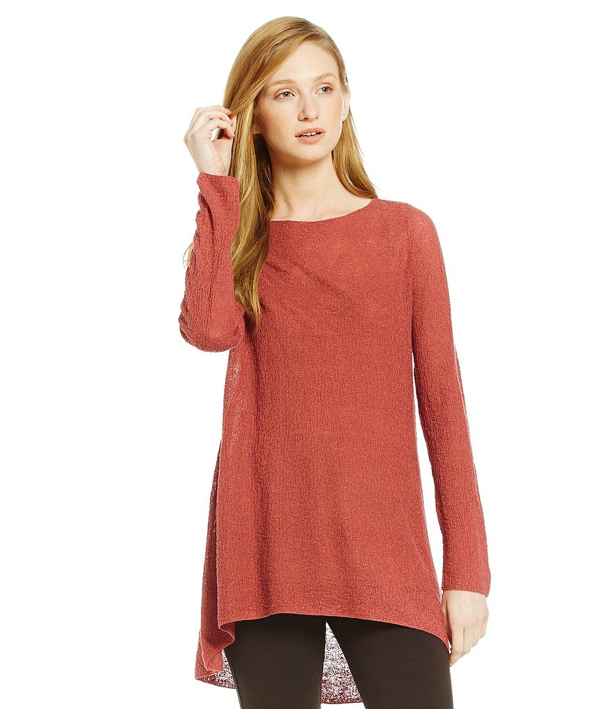 Eileen Fisher Petites Bateau Neck Long Sleeve Top