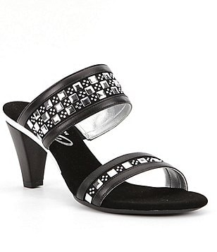 Onex Chess Leather Studded Double Banded Slide Sandals