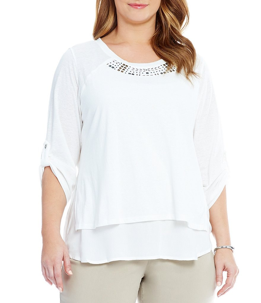 Westbound Plus 3/4 Rolled Tab Sleeve Embellished Top