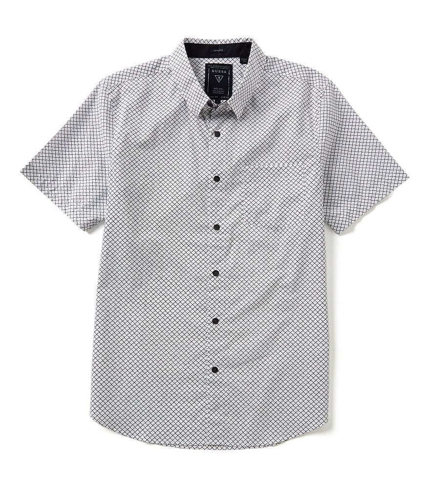 Guess Repeating Diamond Grid Button-Front Short-Sleeve Shirt