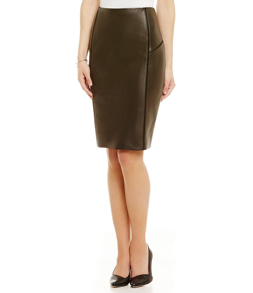 Antonio Melani Fine Leather Claire Suede Seam Pencil Skirt