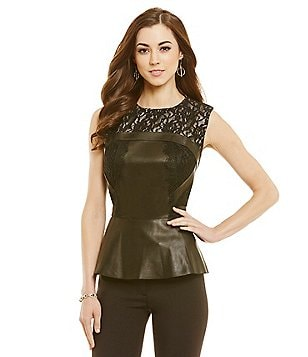 Antonio Melani Fine Leather Camille Peplum Lace Top