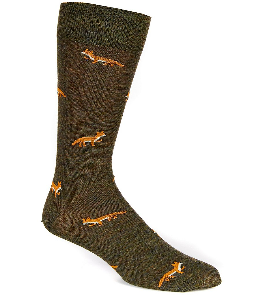 Cremieux Fox Novelty Repeating Print Crew Dress Socks
