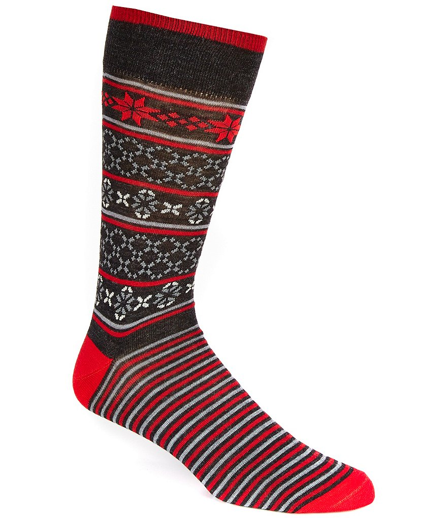 Cremieux Fair Isle Foot Stripe Crew Dress Socks