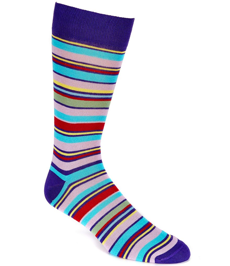 Cremieux Genova Striped Crew Dress Socks