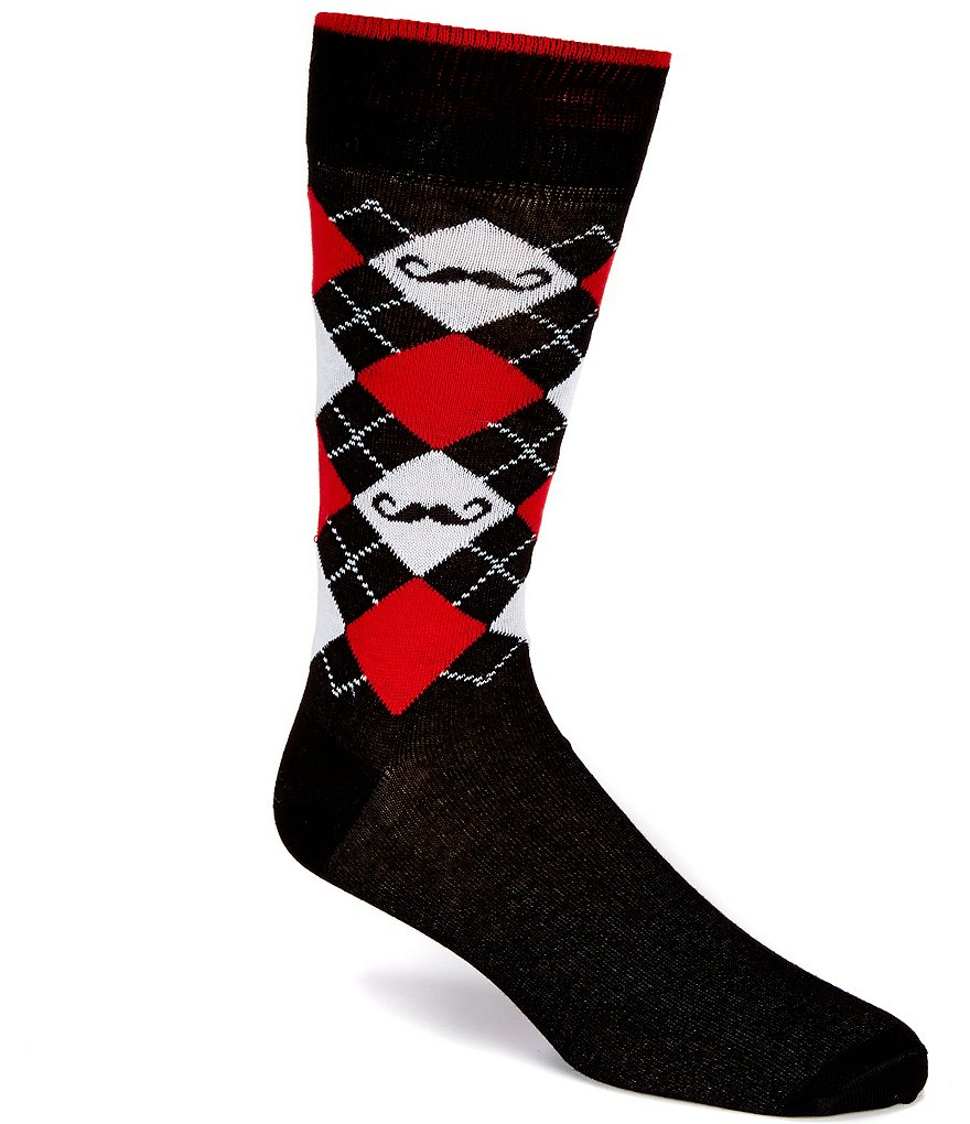 Cremieux Mustache Argyle Crew Dress Socks
