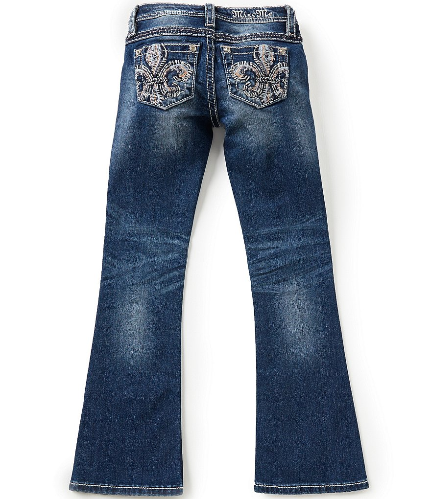 Miss Me Girls Big Girls 7-16 Embroidered Fleur-de-Lis Pocket Boot-Cut Jeans