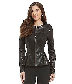 Antonio Melani Fine Leather Wren Peplum Jacket