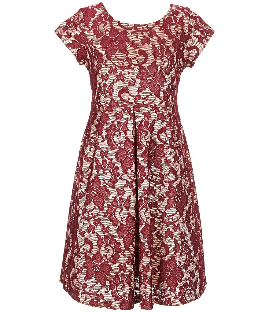 Bonnie Jean Big Girls 7-16 Short Sleeve Bonded Lace Pleated Dress