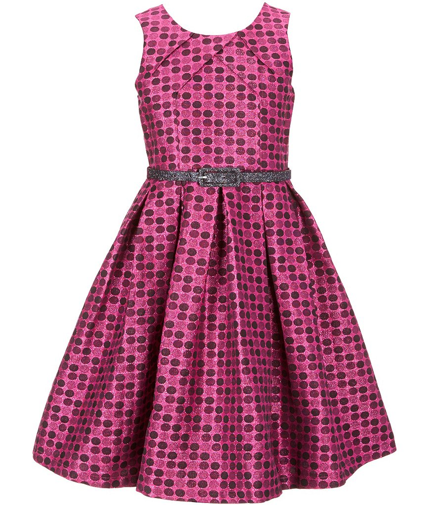 Bonnie Jean Big Girls 7-16 Sleeveless Dot Metallic Brocade Dress