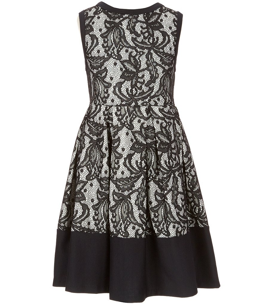 Bonnie Jean Big Girls 7-16 Sleeveless Bonded Lace A-Line Dress