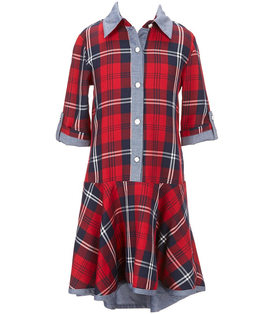 Bonnie Jean Big Girls 7-16 Plaid Drop Waist High-Low Shirt-Dress