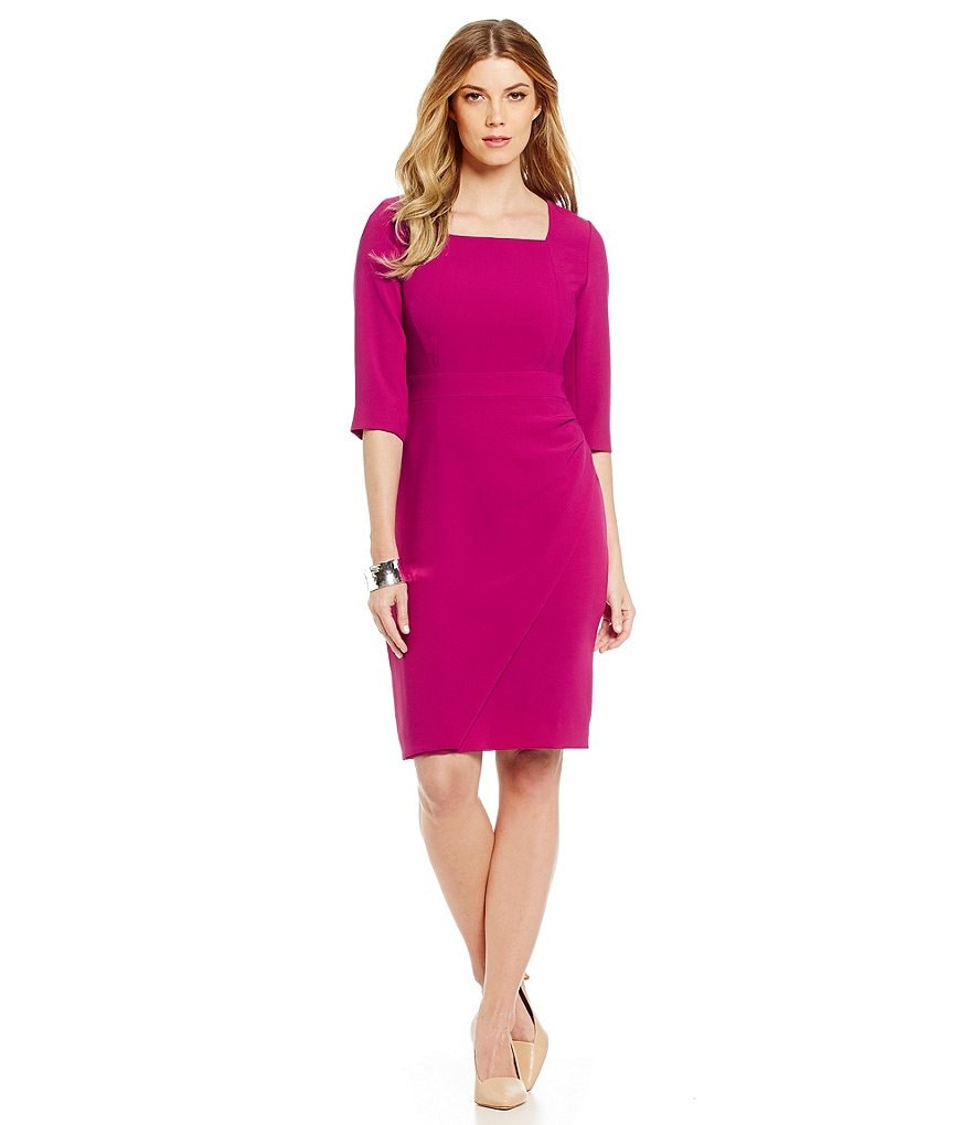 Tahari ASL Square Neck 3/4 Sleeve Crepe Sheath Dress